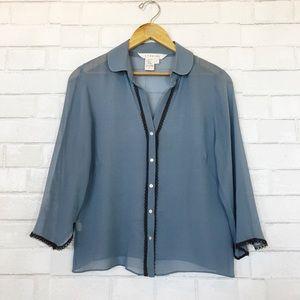 Studio M 100% Silk Sheer Blue Button Down Blouse